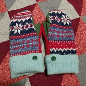 Handmade Fleece-lined Wool and Cotton Mittens
